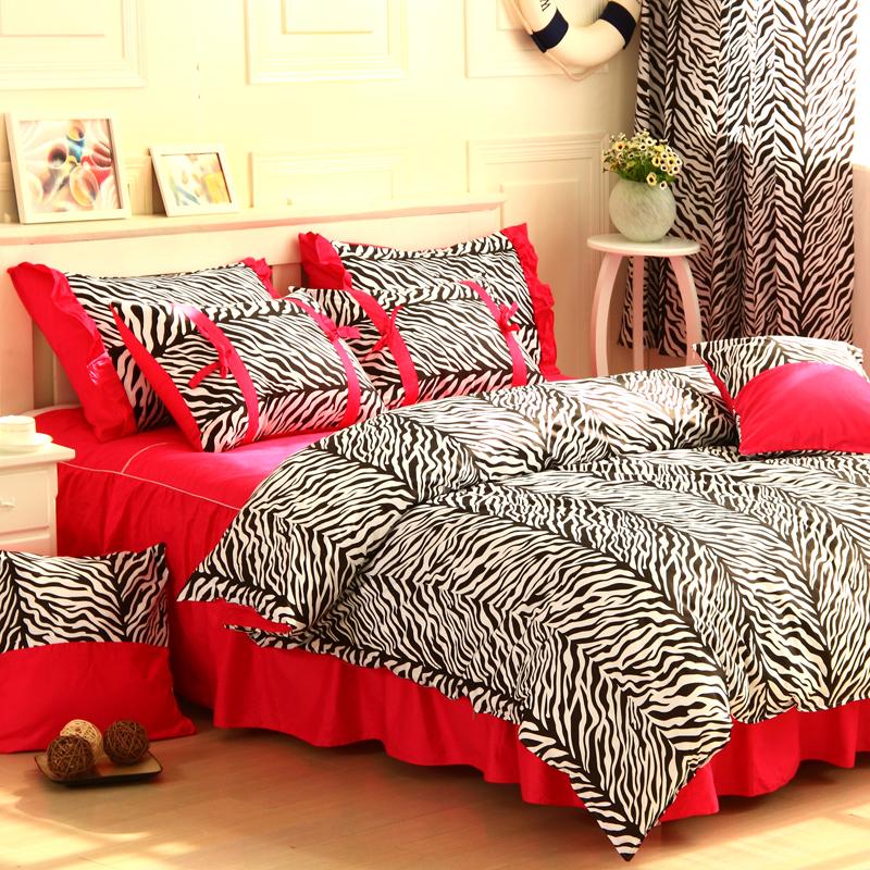 fabric zebra printing 4pcs red zebra print bedding