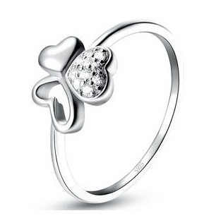 MSF fashion 4 leaf plant 925 sterling silver & AAA zircon platinum plated ladies`rings wedding ring jewelry - Life in Color Co.,Ltd store