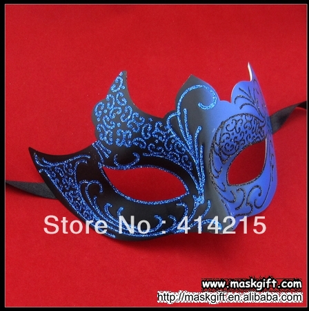 Top Sell Halloween Design Dark Blue And Black Venetian Masquerade Mask Wholesale EMS Free Shipping(China (Mainland))