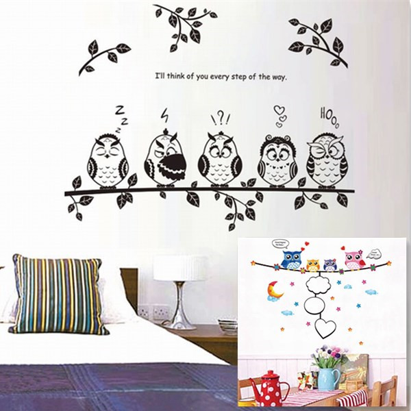 Cute Owl Birds Branch Removable Vinyl Decals for Kindergarten Nursery Kids Baby Child Bedroom Home Decor Mural DIY Wall Stickers(China (Mainland))