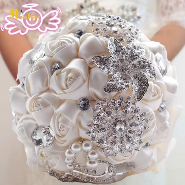 Bt09 элегантный индивидуальные свадебный свадебный букет с перл из бисера брошь и ...