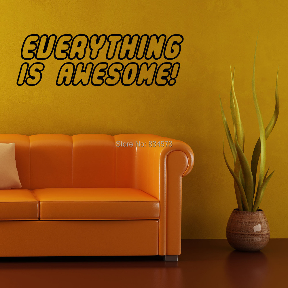 Everything is awesome wall art stickers wall decal home diy decoration decor wall mural Home decor survivor 6