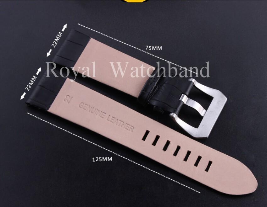 22 мм новый высокое качество мужчин черный италия натуральная кожа часы ремень с серебряной матовый Depolyment застежка