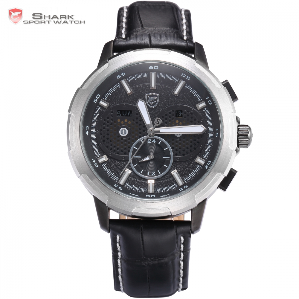 Horn Shark Watch Auto Date Day Display Luminous Hands Silver Case Black Dial Leather Band Strap Watches Mens Wristwatch / SH356(China (Mainland))