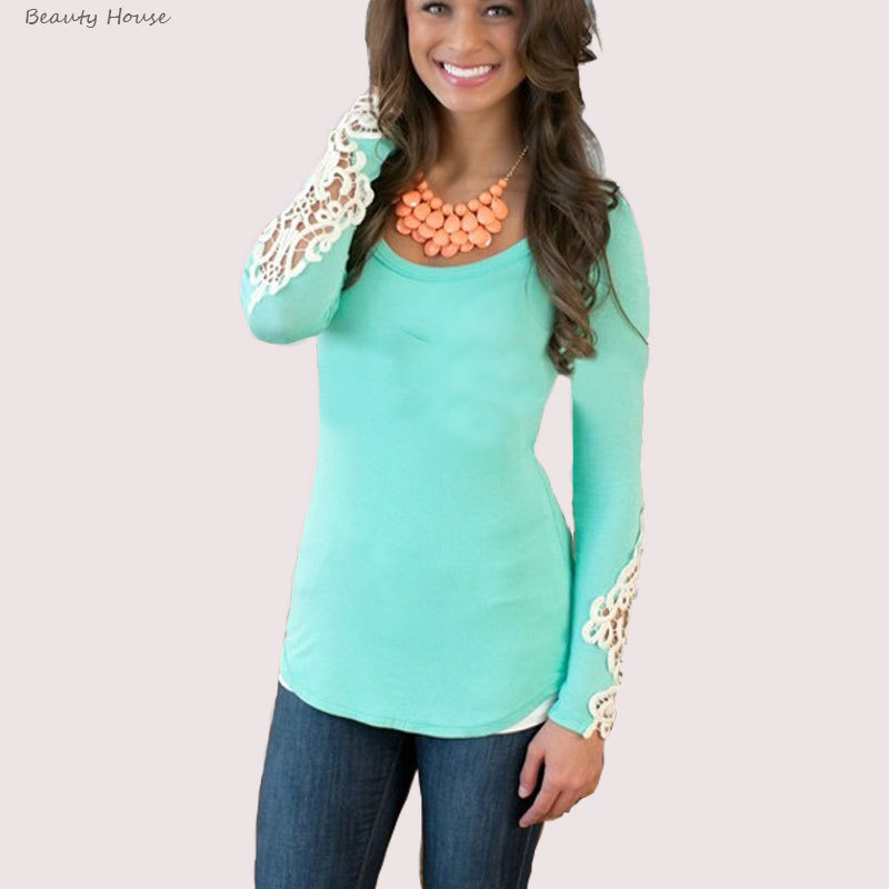New Navy Blue Pink Sky Blue Casual Long Sleeve Shirt Women Lace Patchwork Cotton Tshirt 2015 Autumn Fashion Plus Size Top(China (Mainland))