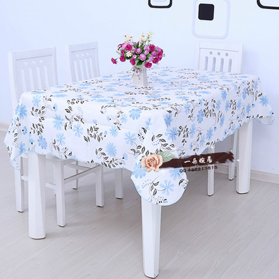 2016 New Arrival Pastoral Style Blue Floral Table Cloth PEVA Plastic Tablecloth Home Kitchen Decorative Waterproof Oilproof WZ(China (Mainland))