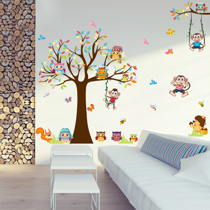 DIY Trees Monkey Owl Cute Animal Wall Sticker Kids Rooms Living Room Bedroom PVC Mural Big Large Wall Picture Home Decor