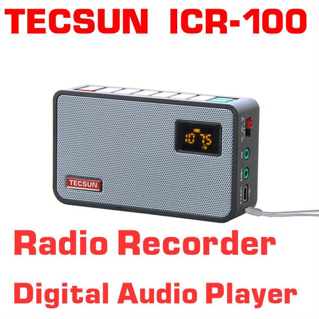 Free Shipping TECSUN ICR-100 TF Card Mini-loudspeaker Recorder MP3 Player Radio FM 76-108(China (Mainland))