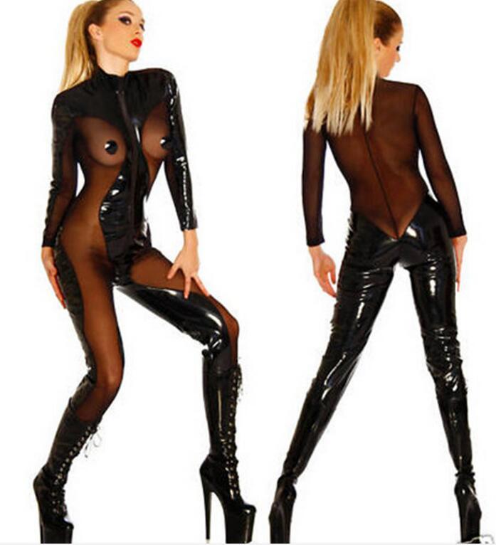 S-2XL Hot Sexy Lingerie Latex Pvc Jumpsuit Zentai Costume Women Black Catsuit Pole Dance Clothes Lady Nightclub Bodysuit