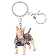 Bonsny Men Bull Terrier Key Chain Cho Phụ Nữ Túi Xách Pendant Keychain Key Ring Xe Phụ Kiện 2017 New Charm Quà Tặng Đồ Trang Sức(China)