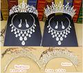 2017 more style Bridal Wedding Jewelry Set Rhinestone Tiara Crown Necklace Earrings