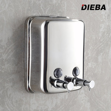 304 stainless steel double soap dispenser wall mounted hand Lotion Shampoo Soap Dispenser(China (Mainland))