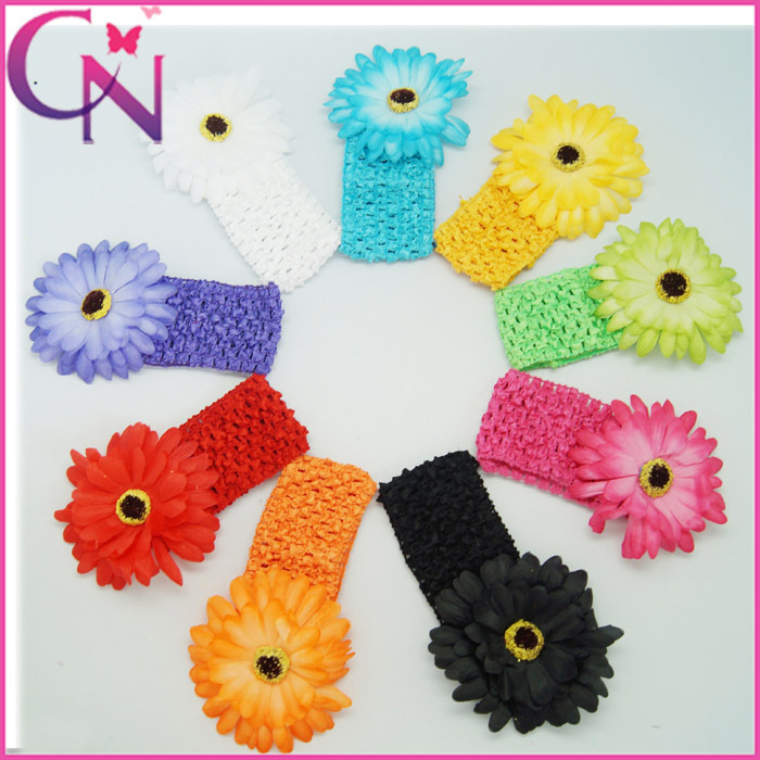 9 colors Available Gerbera Daisy Flower Colorful Soft Waffle Elastic Stretch Headbands For Boutique Kids 180pcs/lot(China (Mainland))