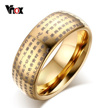 Vnox Китайских Слов Буддийских Текстов Купол Кольцо для Мужчины Женщины 8 ММ Tungsten Carbide Jewelry Золото Серебро(China (Mainland))