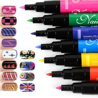 Fashion Nail Art Pen Painting Design Tool 12 colors to Choose Drawing Gel Made Easy Makeup Beauty