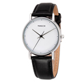 Brand Mens Fashion Dress Watch Slim Hands Casual Style Special Concise White Face Black Genuine Leather