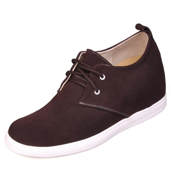 9091A_6- Brown suede Height elevating taller shoes sneakers, sporty lift 7CM height shoes Sz 38-44 -7 different colors