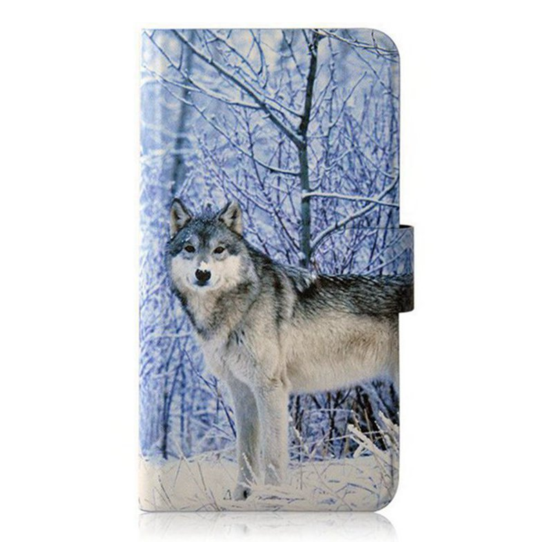 Newest Snow Wolf Personality Unique Card slot PU Leather Flip Case Cover For Lenovo A890E(China (Mainland))