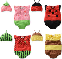 2014 baby bodysuits girls newborn clothing children clothes set strawberry bee ladybug cartoon costume halloween photograpy prop