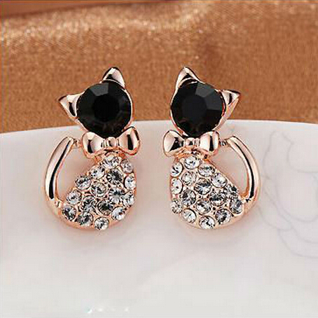2014 Charm Elegant Black Gem Eye Rhinestone Body Cat Earrings Fashion Jewelry For Women Hot Accessories 2014 PT31(China (Mainland))