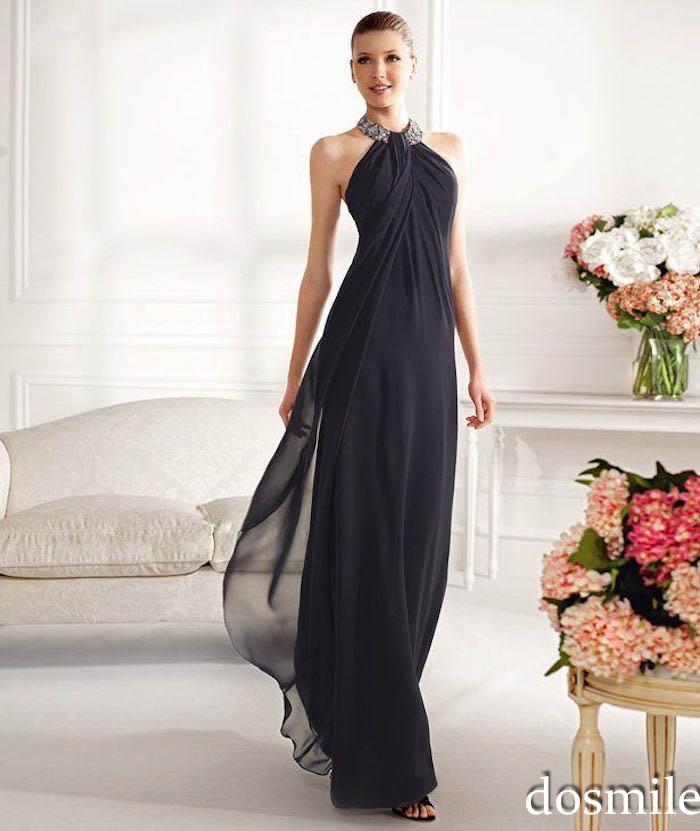 Mother of the Bride Long Halter Dress