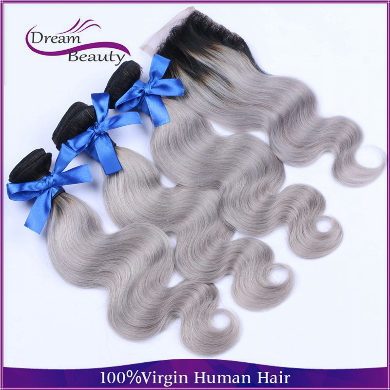 Cheap 3pcs with closure ombre silver body wave brazilian grey hair weaving 1b/gray two tone hair for black women