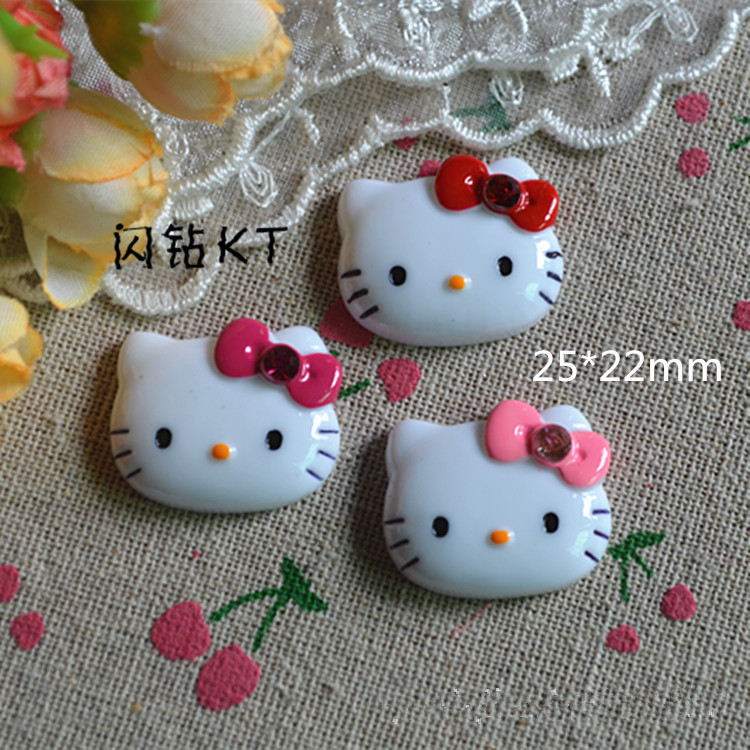 22*25mm 100pcs/lot mix Kawaii hello kitty style DIY Flat back Resin Cabochons Jewelry Fit Mobile phone Hair clip accessory(China (Mainland))