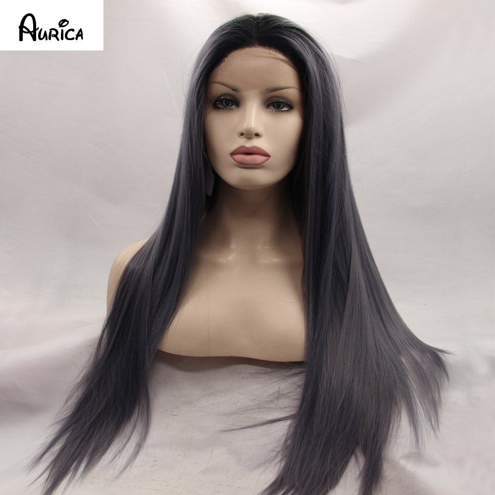 Fashion Straight Ombre Dark Gray Synthetic Lace Front Wig Glueless Two Tone Natural Black/Grey Heat Resistant Hair Women Wigs<br><br>Aliexpress