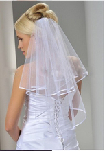 One-Layer Ribbon Edge White Ivory Bridal Veil