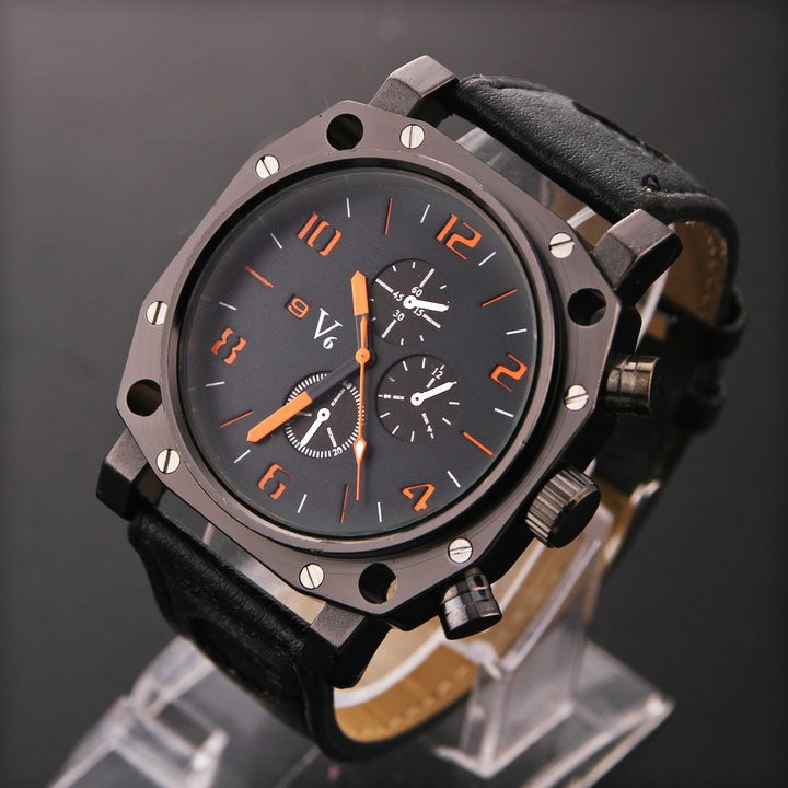V6 New Watches V0015 2015 Men Sports Watch Fashion Casual Wristwatches Luxury Leather Strap Quartz - Perfect Monment Company Limited store