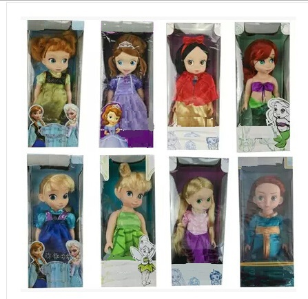 New 16Inch/12Inch Disny Princess animators Boneca Rapunzel/Sofia/Mermaid/Snow White/Tinker Bell/Anna and Elsa Doll(China (Mainland))