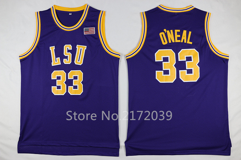 Wholesale Price Hot Sale!!! Hot #33 Shaquille O'Neal Jersey LSU Tigers College Purple Cheap Shaq ONeal Basketball JERSEY(China (Mainland))