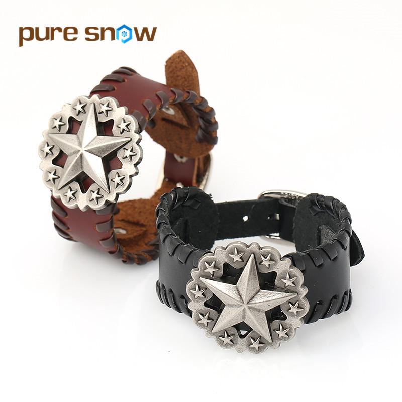 New Fashion Black Brown Stars Retro Punk Leather Bracelet Cuff Wide Bracelets & Bangles Jewelry Wholesale Men And Women Gift(China (Mainland))