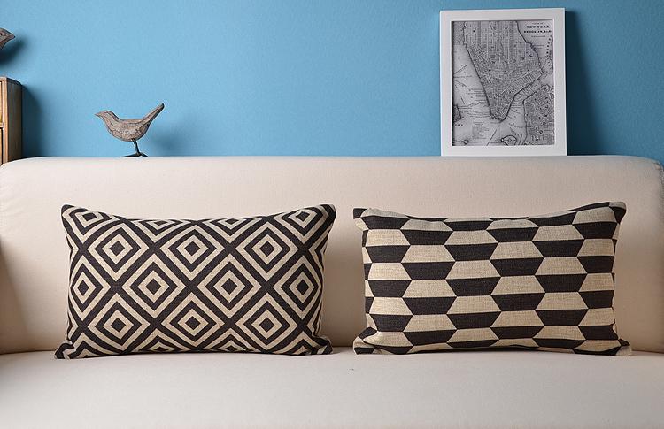 Decorative lumbar pillow geometry pattern sofa back cushion nap pillow art home decoration size 30 50