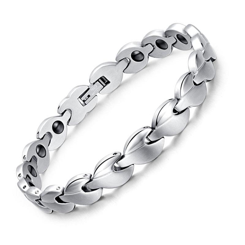Fashion Silver Stainless Steel Bracelet For Women Matt Finish Polish Leaf Shape Power Energy Health Bracelet Magnetic Germanium(China (Mainland))