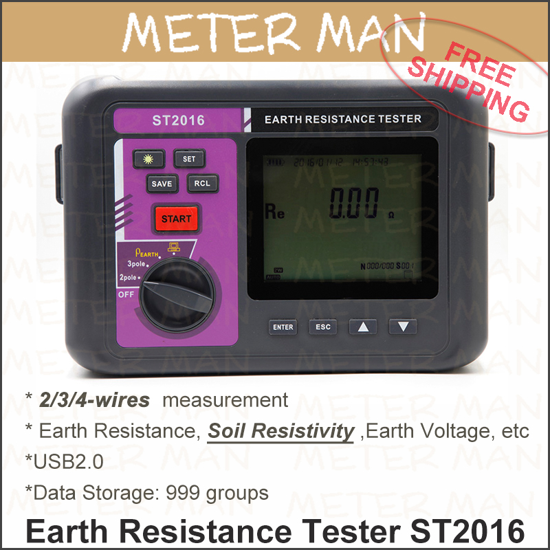 Earth Resistance Ground Resistance Ground AC Voltage Measurement Soil Resistivity Digital Earth Resistance Meter ST2016(China (Mainland))