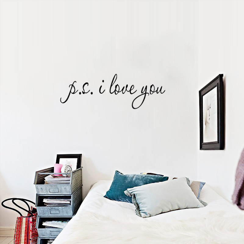 ps i love you quotes wall stickers living bed room decorations 8017. diy vinyl adesivo de parede home decals mural art gifts 3.0(China (Mainland))