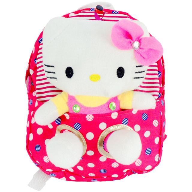 Высокое качество привет китти игрушка плюша мультфильм точка рисунок рюкзак холст мешок подарок для детей Mochila Infantil горячая распродажа