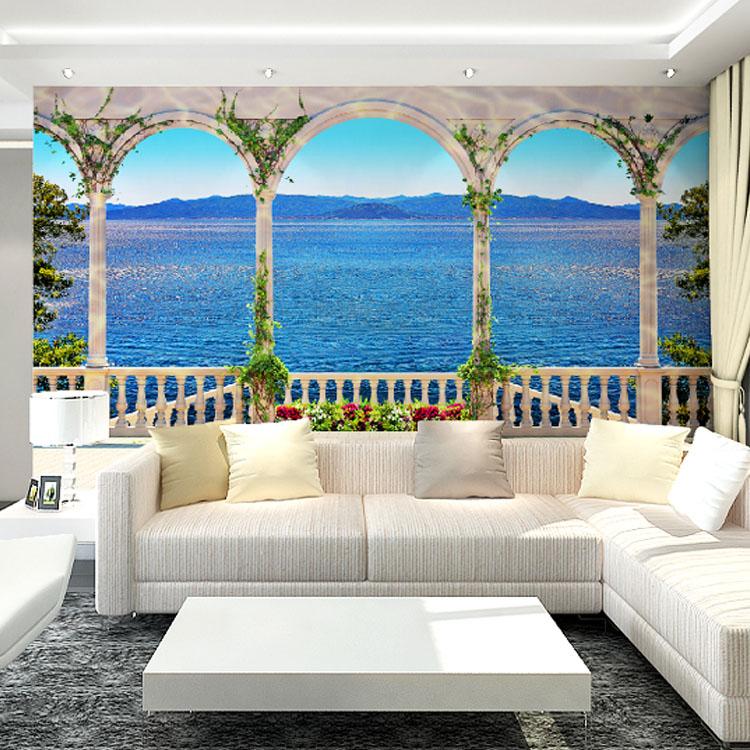 Atacado 3d mural papel de parede com o windows seascape for Papel pintado murales fotograficos