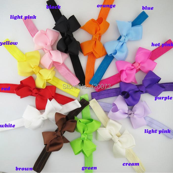 Free Shipping 20 Pcs/lot Handmade Hair Bow Headband For Baby,Kids Headband With Bow,Infant Hair Bow With Elastic Headband(China (Mainland))