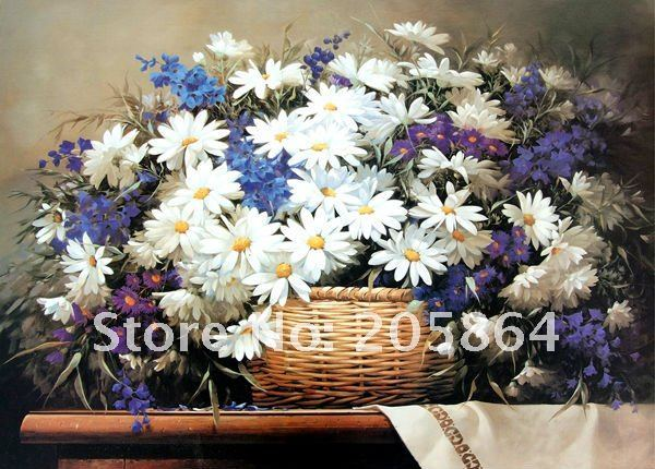 FREE SHIPPING big size still life gobelin tapestries for furniture,decoration picture frame,a basket of daisy