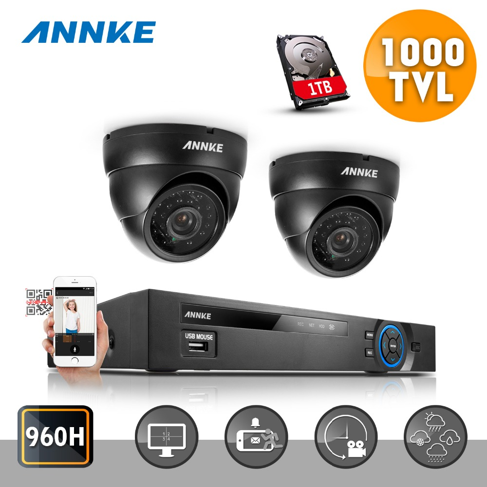 Гаджет  ANNKE CCTV System kit 4CH Channel HDMI DVR 960H Camera 1000TVL Home Security Camera System 1TB None Безопасность и защита