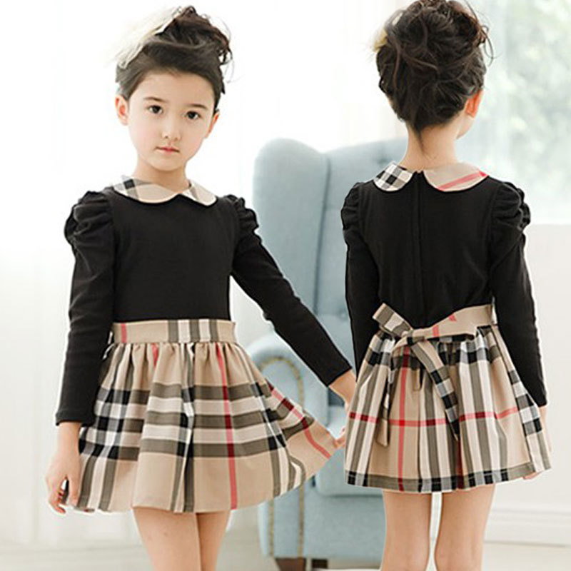 Fashion baby kids dress long sleeved girls winter dress doll neck plaid hem for girls party Fashion style girl hiver 2015