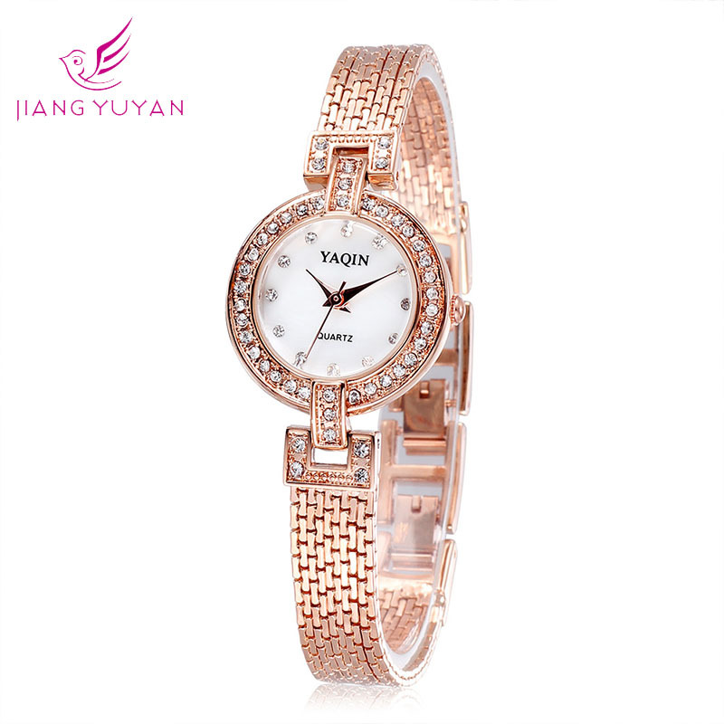 Korea fashion elegant women rhinestone watches brand name rose gold bracelet small dial luxury for Watches brands for girl