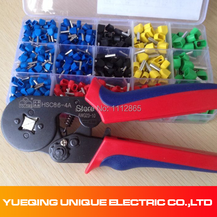 Ferrule Crimper and Wire end Cord end terminals 0.25-6mm2 Terminal Crimping Tool set / kit with 520pcs double Bootlace(China (Mainland))