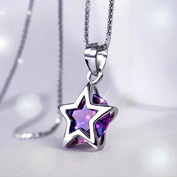 With 925 silver stars PENTAGRAM NECKLACE PENDANT zircon silver jewelry female clavicle<br><br>Aliexpress