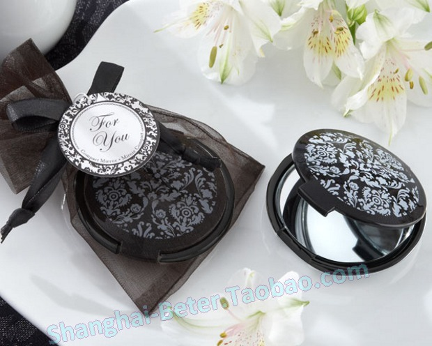 Здесь можно купить  Free Shipping 100pcs Elegant Black damasked Compact Mirror wedding bomboniere WJ067/A Free Shipping 100pcs Elegant Black damasked Compact Mirror wedding bomboniere WJ067/A Красота и здоровье