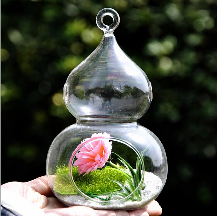 Free shipping transparent calabash glass flower vase home decor hanging diy flower vase creative Diy home decor flower vase