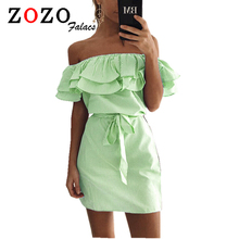 Buy Falacs Zozo Summer Women Casual Sexy Fashion Dresses Straight Striped Ruffles Mini Butterfly Sleeve Slash Neck Dress Vestidos for $5.99 in AliExpress store