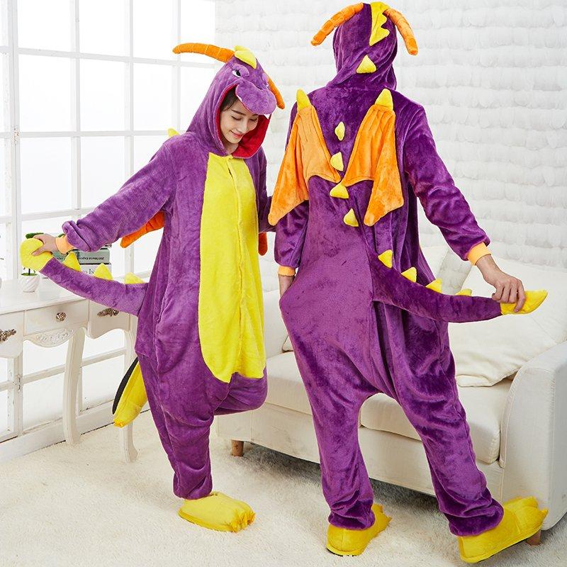 Adult flannel purple dinosaur onesies pajamas cartoon animal cosplay pyjamas dragon cosplay costume Women Men Halloween costumes(China (Mainland))